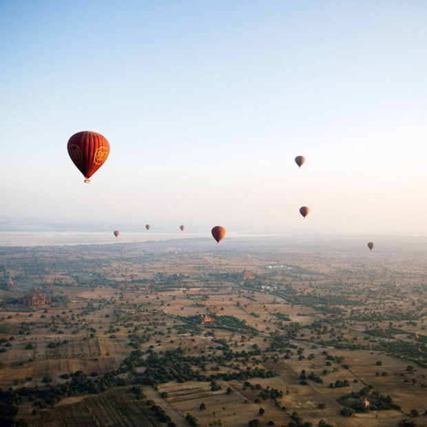 Hot Air Ballooning in Myanmar: Spectacular views of 3,000+ ancient temples of Bagan, as seen from the sky