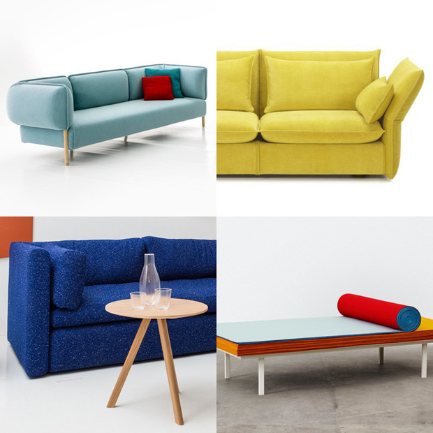 Milan Design Week 2014: Six Colorful Sofas : Vibrantly hued settees poking out from the mass of furniture found at this year's fair