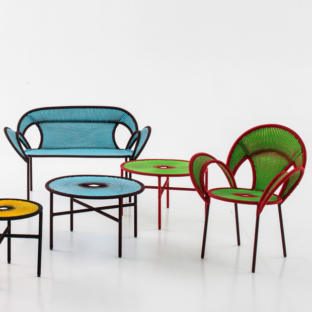 Moroso Banjooli Collection: Brightly colored furnishings made with fishnet and inspired by ostrich mating dances