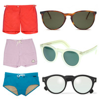 Solid Swim Suits and Circular Sunglasses for Summer