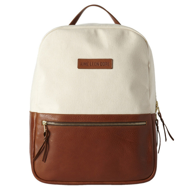 Aimé Leon Dore + Frank Clegg Travel Pack: A handsome minimalist backpack made of crisp, natural canvas and tumbled leather
