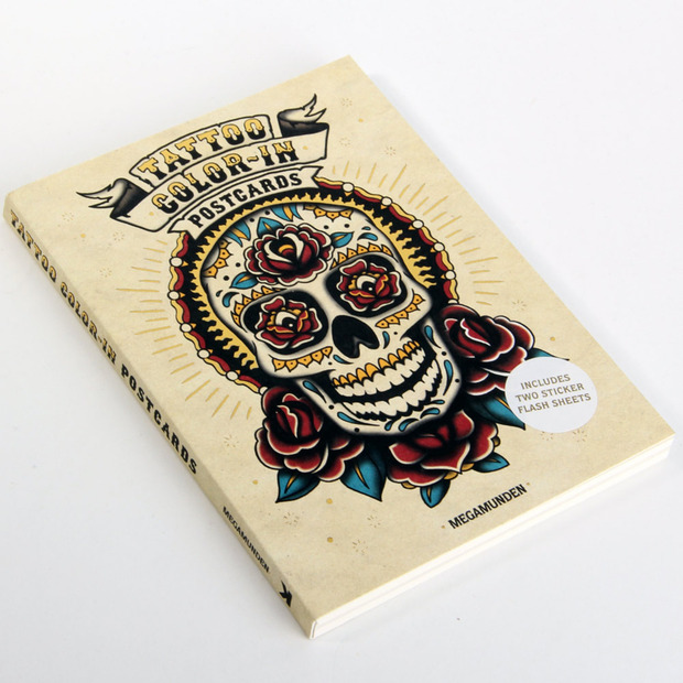 Tattoo Color-In Postcards: Megamunden's designs in pint-sized form, ready to be personalized and dropped in the post