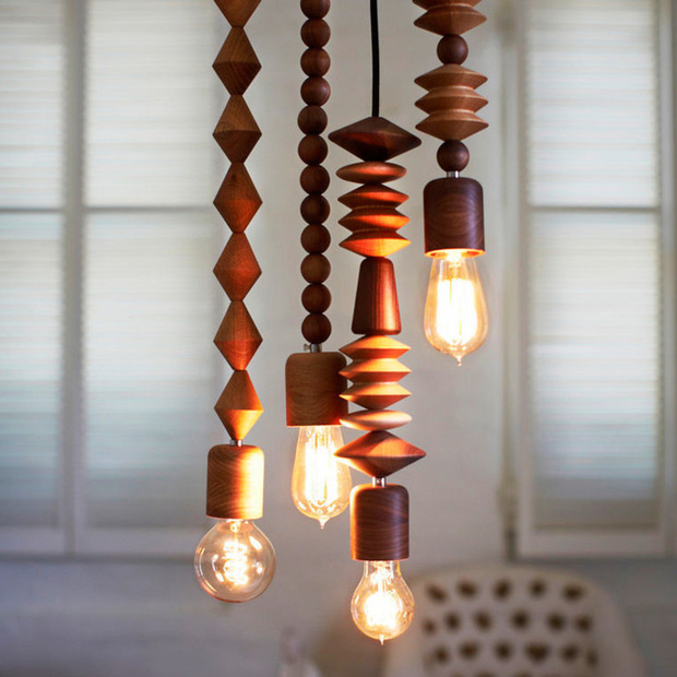 Coco Reynolds' Timber Pendant Lamps: Beautiful hanging lamps, hand-lathed using FSC-certified wood
