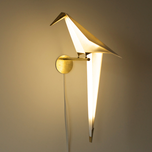 Umut Yamac's Perch Light: The architect's perfectly balanced, origami-inspired paper light
