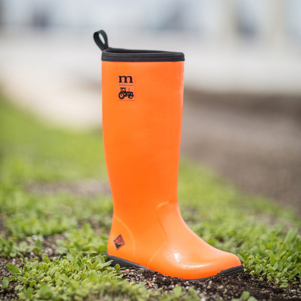 Modern Farmer's Vibrant Muck Boot: Fully insulated waterproof boots ready for hard work outdoors or a casual walk in the rain