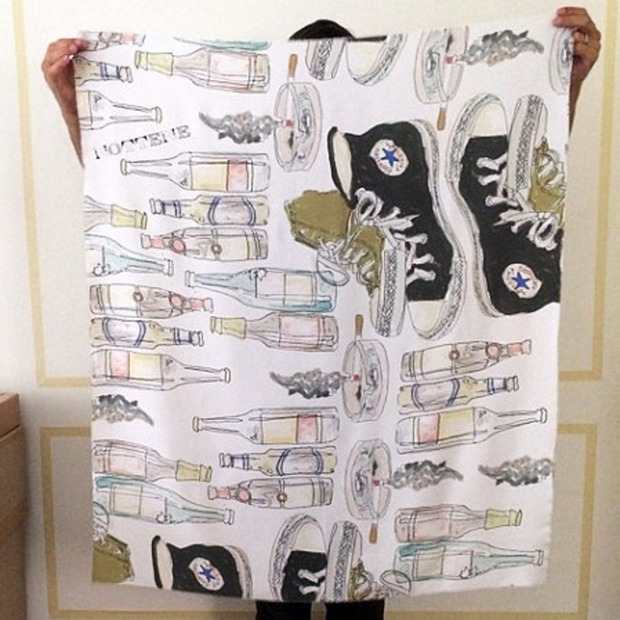 The Bad Behavior Silk Scarf by Nottene: NYC-based illustrator Kimberly Ellen Hall takes the formality out of the accessory with her hand drawn designs