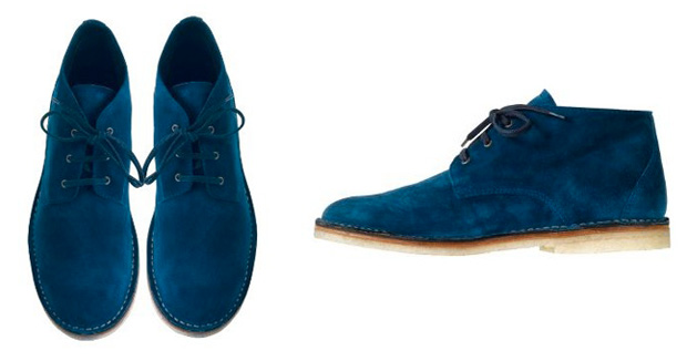 Blue suede boots by A.P.C., need we say more? The ultimate blue suede shoes, these desert boots look as beautiful as they wear comfortably (and are another