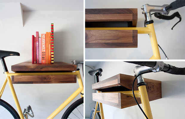 A Cleverly Efficient Way To Store Bikes, The Solid Wood Conceals A Steel  Square Rod Mount For Elegantly Hanging A Bike, Doubling As A Table Top  Space For ... Great Pictures