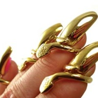 Bijules Golden Serpent Nail Rings